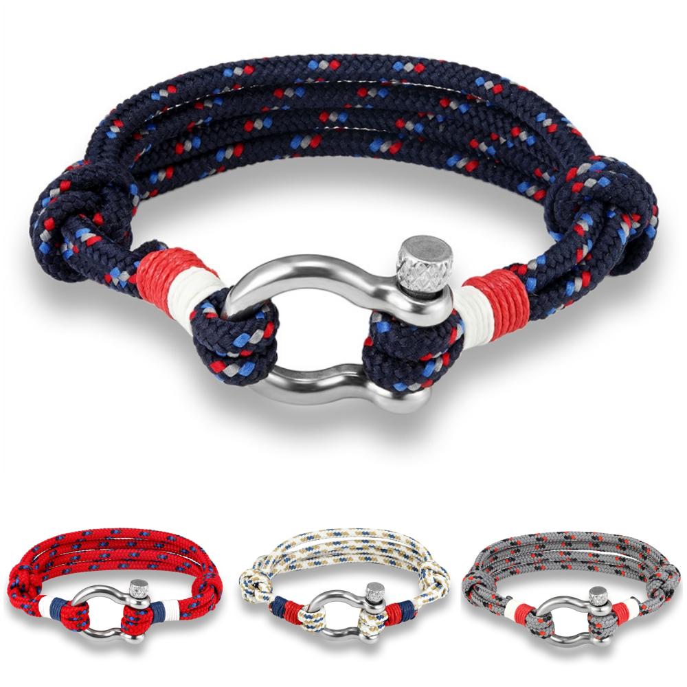 rivenditore online 7320e 39816 Dettagli su Bracciale uomo acciaio in corda nautica con nodo da  braccialetto moschettone blu